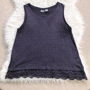 KENAR 100% linen knit tank w/lace at hem medium